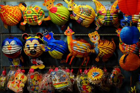 HO CHI MINH CITY, VIET NAM- SEPT 8, 2018: Colorful cute animal lantern at lanterns street, district 5, Vietnam