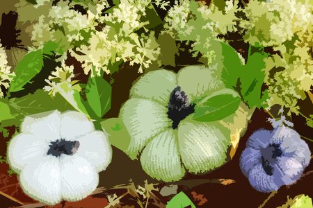 Beautiful painting of colorful pumpkins in garden make from use filter effect on real photo, group of handmade product from knit art on white tiny flowers in nature scene make artistic background