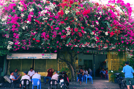 HO CHI MINH CITY, VIET NAM- MARCH 18, 2019: Amazing scene of cafe shop at morning, people sit under colorful bougainvillea flower trellis for coffee time, Vietnam 報道画像