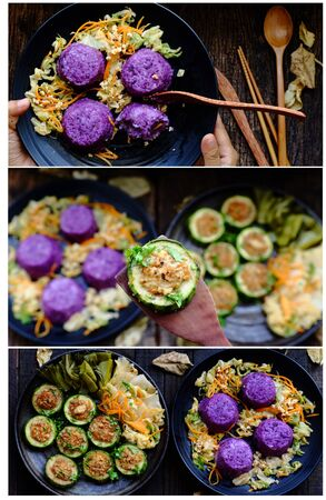 Vietnamese homemade vegetarian eating on black plate, grilled vegetables with slice of winter melon stuff with tofu, carrot, rice dish in violet, delicious vegan meal that frugal, healthy