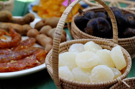 Vietnamese traditional food for tet from vegetables, close up homemade sweet water chestnut jam in white in basket on bamboo background for tea time at spring seasonal