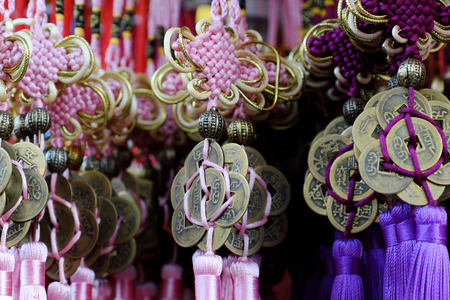 HO CHI MINH CITY, VIET NAM- JAN 25, 2019: Group of colorful ornaments to decor for springtime sale at decorate store, Binh Tay market, Vietnam