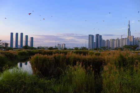 Amazing landscape of Ho Chi Minh city, Vietnam at evening with many kites flying on sunset sky, highrise building reflect on water of river, reeds flowers at foreground make wonderful scene