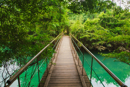 Scenery in Guizhou Maolan Nature Reserve, river and suspension bridge in the forest Stock fotó