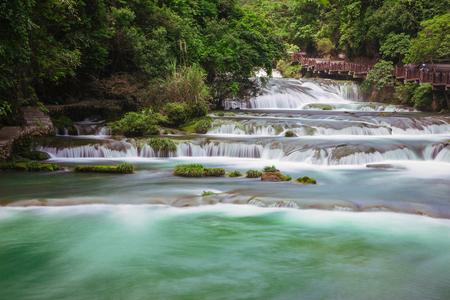 Guizhou Libo Xiaoqikong (Seven Small Arches) Scenic Area, 68-layer waterfall Stock fotó
