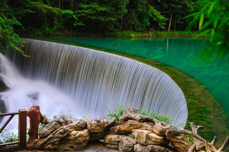 Guizhou Libo Xiaoqikong (Seven Small Arches) Scenic Area, Wolongtan Waterfall Stock fotó