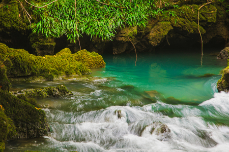 Guizhou Maolan National Nature Reserve, natural scenery, subsurface stream exit