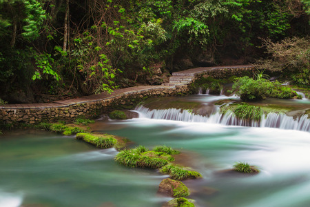 Guizhou Libo Xiaoqikong Scenic Area, 68-level drop waterfall Stock fotó