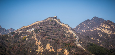 the great wall and the fall: Great Wall of China Stock Photo