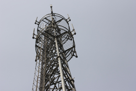 Close up of a transmission tower