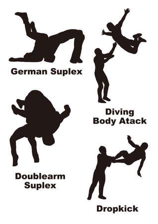 Illustration Data Pro Wrestling Technique Silhouette 2  It is a silhouette illustration four of professional wrestling technique.