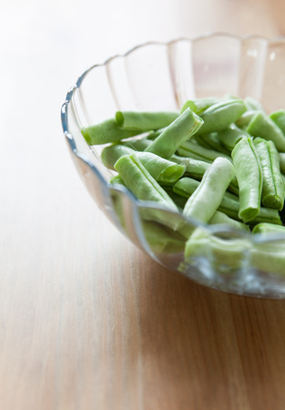 long beans: Green long beans in glass bowl Stock Photo