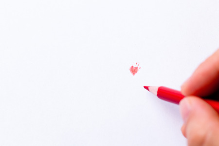 wish desire: Red heart pencil drawing