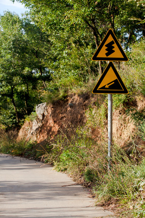 turning: road sign for turning downhill
