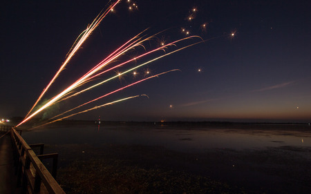 pyrotechnics: pyrotechnics , candle fireworks at night Stock Photo