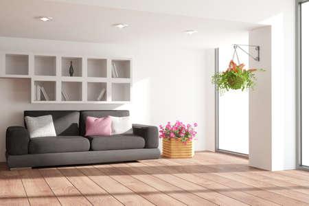 Modern interior design. 3D illustration