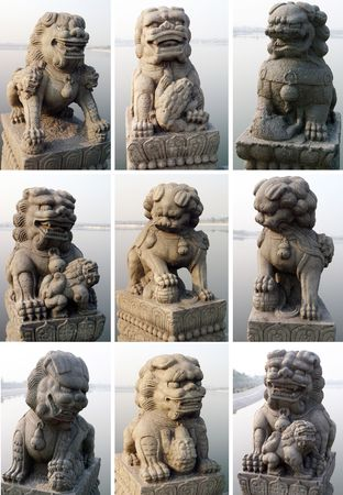 magnificent: Stone lions, carved, majestic, magnificent,