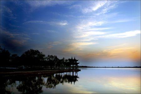 wan: Choi Wan, blue sky, water, sun, pavilion,  Stock Photo