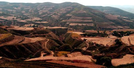 loess: China, the Northern Plateau, loess terrace Stock Photo