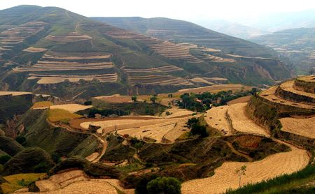 plateau: China, the Northern Plateau, loess terrace Stock Photo