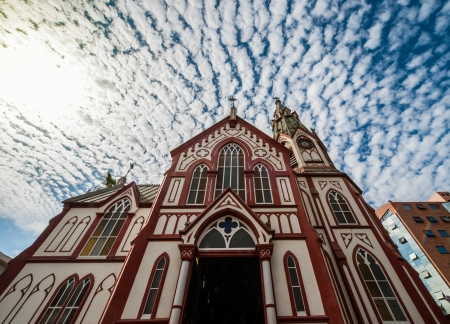 Gothic-style Iglesia San Marcos  Saint Marks Cathedral  in Arica, northern Chile, by Gustave Eiffel, which was an all-metal prefabricated building, manufactured in France and shipped to South America in pieces to be assembled on site  1870s