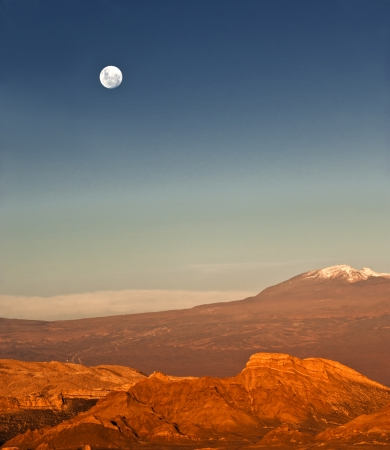 volcanic landscape: Valle de la Luna  Valley of the Moon  is located 13 kilometres  8 mi  west of San Pedro de Atacama, Chile in the Cordillera de la Sal, in the Atacama desert of Chile, a part of the Reserva Nacional los Flamencos and was declared a Nature Sanctuary in 1982