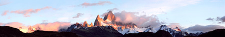 fitzroy: Andes in the fire  Giant panorama of mountain range Fitz Roy, Glaciers National Park Argentina, Patagonia