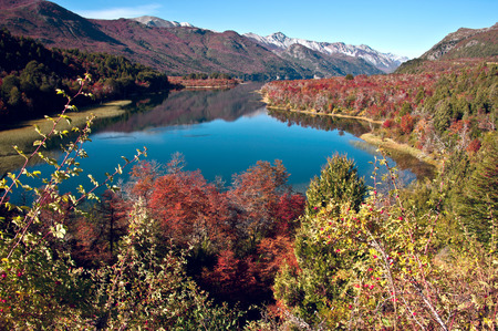 bariloche: Autumn Colors in Lake Gutierrez, near Bariloche, Patagonia, Argentina Stock Photo