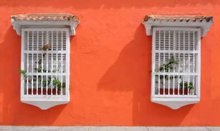 Typical Colonial houses in the Old City of Cartagena, Colombia photo