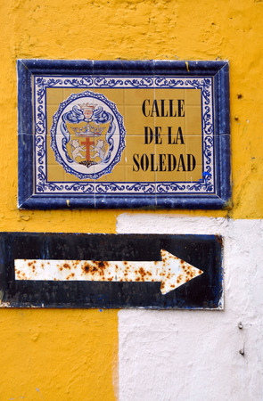 Street of Solitude - Old pointer in Cartagena, Colombia photo