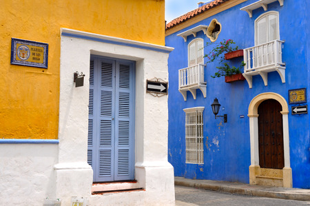 Typical Colonial houses, San Diego Square in the Old City of Cartagena, Colombia