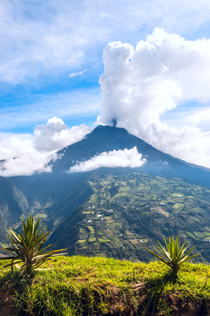 tungurahua:  Eruption of a volcano Tungurahua, Cordillera Occidental of the Andes of central Ecuador, South America