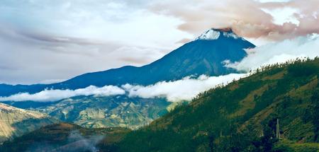 tungurahua: Hermosa Valley with Eruption of a volcano Tungurahua and town Banios de Agua Santa in Ecuador