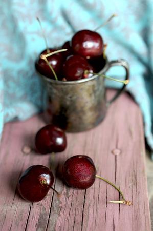 pewter mug: Sweet cherry in the ancient pewter mug