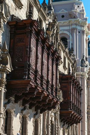 peru architecture: Plaza de Armas, architecture detail, Lima, capital of Peru