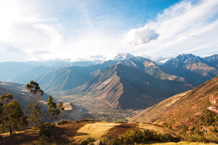 urubamba valley: Sacred Valley harvested wheat field in Urubamba Valley in Peru, Andes, on the road from Cuzco to Abancay Stock Photo