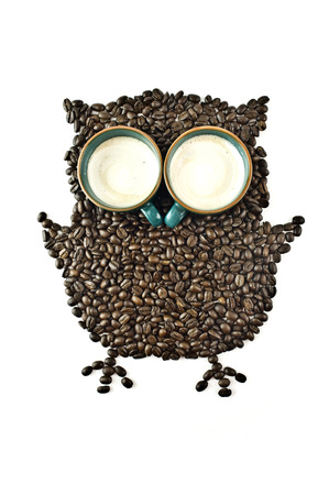 Coffee cups and Coffee beans Shaped like the Owl photo