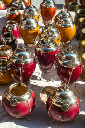 Yerba mate cups sold in the market in San Telmo, Buenos Aires, Argentina photo