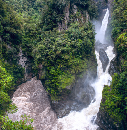 Pailon del Diablo - Mountain river and waterfall in the Andes  Banos  Ecuador photo