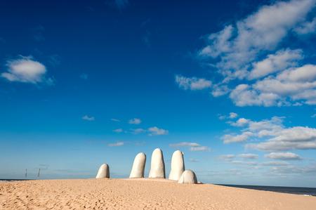 Hand Sculpture, the symbol of Punta del Este, Uruguay Stok Fotoğraf