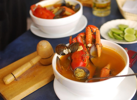 Crab soup as it is served in Ecuador