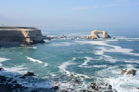 portada: Arch Rock Formation in La Portada National Reserve is an emblem of Chilean Coast Stock Photo