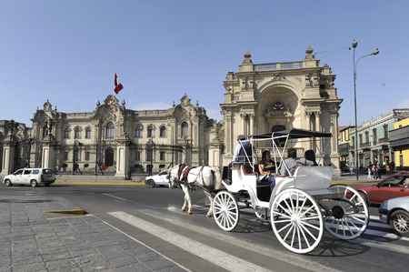 LIMA, PERU, MARCH 01: Carriage rolled tourists every Sunday and holidays by the Presidential Palace at Plaza de Armas in Lima, Peru, 01 march, 2011