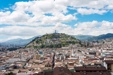 Historical center of old town Quito in northern Ecuador in the Andes mountains. Quito is the second highest capital city in the world
