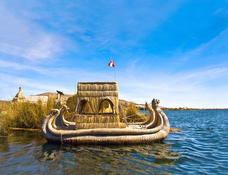 Uros - Floating Islands, Titicaca lake, Peru-Bolivia Standard-Bild