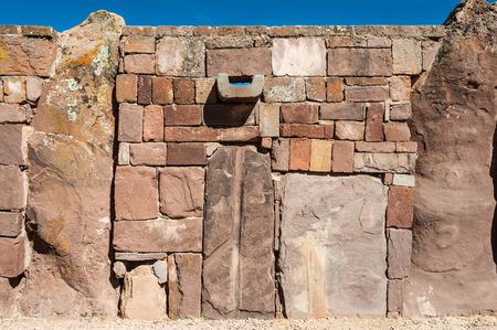 past civilization: TIWANAKU, JULY 29: Wall at Tiwanaku - ancient city near the Lake Titicaca 12-17 BC. - july 29 2011 in Tiwanaku, Titicaca region, Altiplano, Bolivia