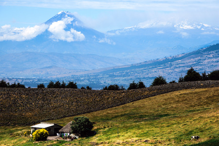to dominate: Tungurahua and Altar Volcanoes dominate the plateau, Cordillera Occidental of the Andes of central Ecuador, South America