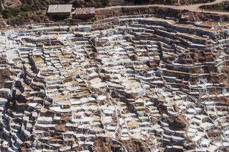 famous industries: Salinas de Maras, the traditional inca salt field in Maras near Cuzco in Sacred Valley, Peru Stock Photo