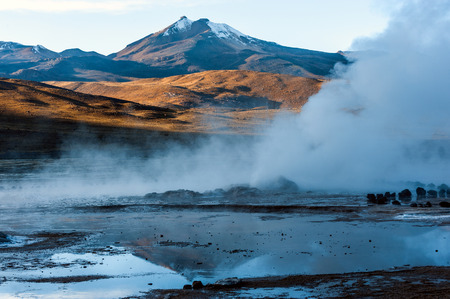 geysers: Valley Geysers at El Tatio, northern Chile at Sunrise, Atacama Region, close to the Bolivian border