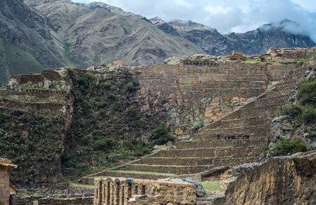 past civilizations: Famous Ollantaytambo pre-Columbian Inca site in Cusco region, Peru Stock Photo